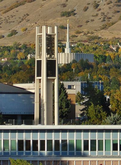 The BYU Bell Tower with the Provo LDS temple in the background BYU Bell Tower with Provo Temple.JPG
