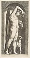 Bacchus standing in a niche holding grapes in his raised right hand, fruit in his left hand, a dog lower right MET DP818714.jpg