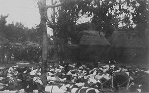 Dutch intervention in Bali (1906) - Corpses of the puputan at Denpasar. Dutch troops are standing on the left.