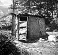 Bajta iz smrekovega lubja, Zg. Trenta - Zapoudnom 1952.jpg