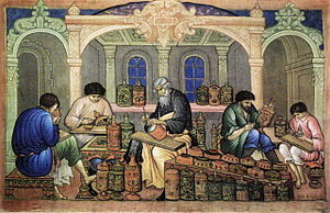 Khokhloma - Ivan Bakanov. Khokhloma artists at work. Palekh miniature, 1929.
