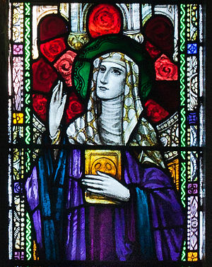Íte of Killeedy - Stained glass window of Íte in St. Kieran's Church, Ballylooby