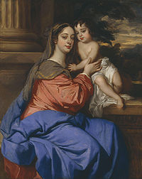 Barbara Palmer (née Villiers), Duchess of Cleveland with her son, Charles Fitzroy, as Madonna and Child by Sir Peter Lely.jpg