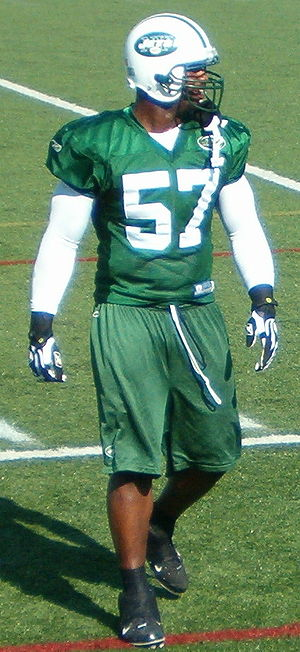 Bart Scott - Scott during a 2009 Jets Training Camp session.