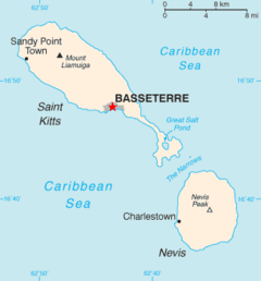 Location of the city of Basseterre in St. Kitts and Nevis