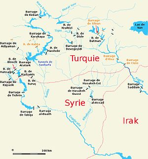 Syria–Turkey border - Map of the Tigris–Euphrates river system across the eastern part of the Syro-Turkish border