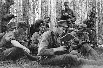 Battle of Ilomantsi - Osasto Partinen (Detachment Partinen) in forest of Ilomantsi.