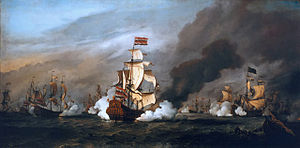 Battle of Texel - The Battle of the Texel, 11/21 August 1673 by Willem van de Velde, the younger, painted 1683. The ship at the centre is Dutch Admiral Cornelis Tromp's flagship Gouden Leeuw, 82 guns.