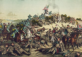 Battle of Nashville - Battle of Nashville, Chromolithograph by Kurz & Allison, 1888