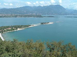 Manerba del Garda - Bay of Manerba with San Biagio Island well known as the Rabbits Island.