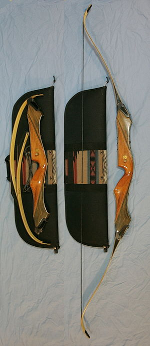 Takedown bow - The same takedown bow is shown disassembled on a travel case, and assembled for use.