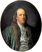 Painting of Benjamin Franklin in green coat