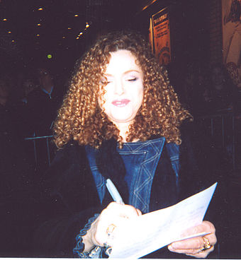 Peters after a performance of Gypsy in 2004 Bernadette Peters 2004.jpg