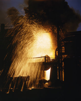 Spark (fire) - Spray of sparks from a Bessemer converter as air is blown through the molten metal