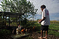 Bethesda student Charles feeds the chickens kept at the school to teach the students how to care for chickens and generate an income. (10677028376).jpg