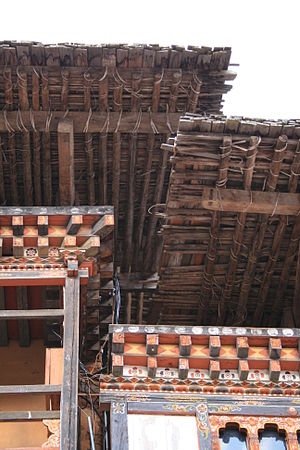 Architecture of Bhutan - Roof construction at Trongsa Dzong