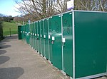 Bicycle Lockers. At Dunfermline Town Railway Station.