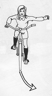 Image:Bicycle hand signal left turn USA.jpg