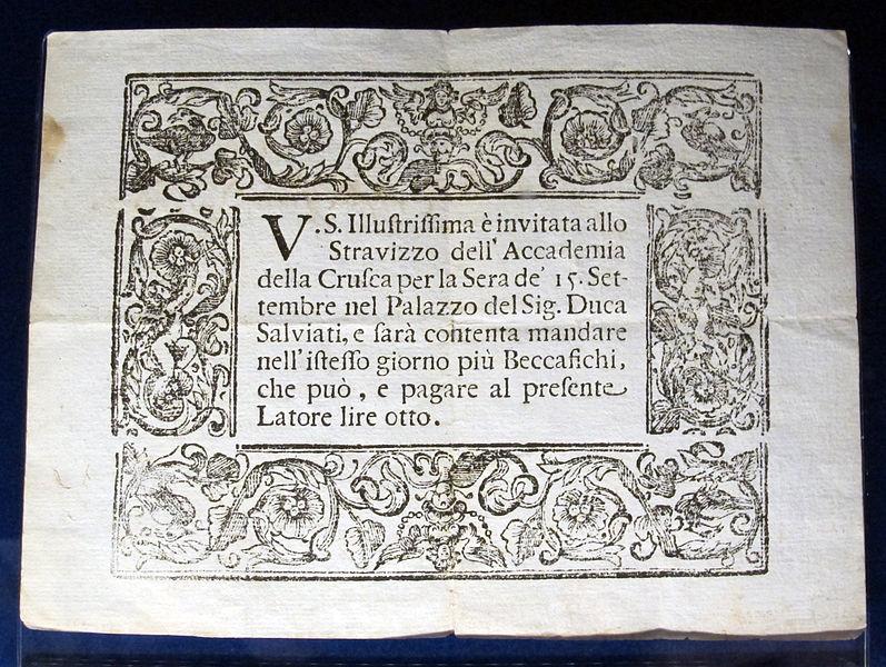 File:Biglietto a stampa per invito allo stravizzo del 15 settembre 1697, da accademia della crusca.JPG