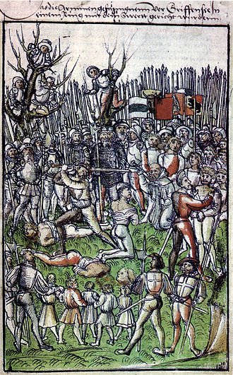 Swiss illustrated chronicles - Execution of the defenders of Greifensee during the Old Zürich War 1444, from Schodeler's chronicle, ca. 1515.