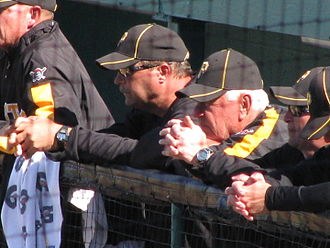 "Bill Mazeroski - ""Maz"" (right) in the Pirates' dugout at McKechnie Field on March 7, 2010 with Pirates pitching coach Joe Kerrigan (left)"