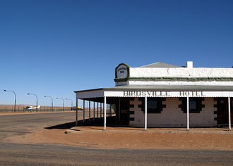 Birdsville - The Birdsville Hotel, adjacent to the apron of Birdsville Airport.