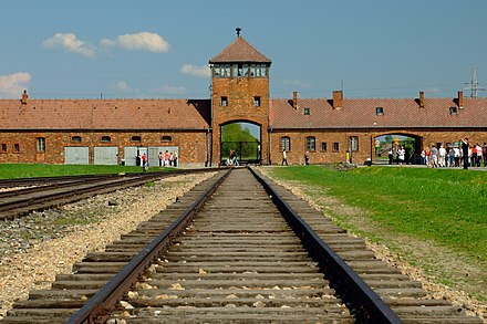 The infamous gatehouse at Auschwitz-Birkenau concentration camp, where at least 1.1 million people were murdered by the Nazi regime Birkenau 5.JPG