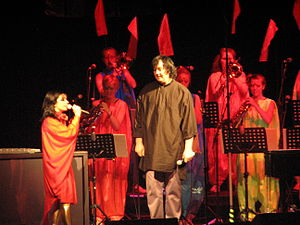 "Vulnicura - Björk performing with Anohni (right), who performs guest vocals on ""Atom Dance""."