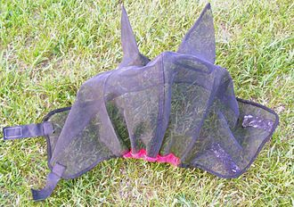 Fly mask - A fly mask with ears, showing attachment and other details. Note mesh is see-through