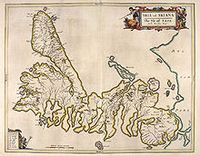 An old map of Skye with north at right.