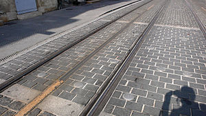 Bordeaux tramway - Central rail of the APS system