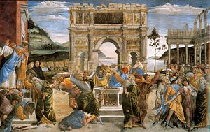 Korah - The Punishment of Korah and the Stoning of Moses and Aaron. Fresco by Sandro Botticelli in the Sistine Chapel, 1480-82.