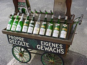 Alsace wine - Bottles of Alsace wine, of the typical flûte shape.