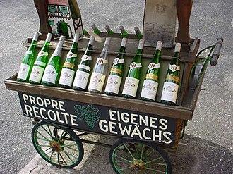 Alsace wine - Bottles of Alsace wine, of the typical flûte shape.