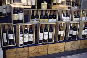 History of Bordeaux wine - Bordeaux wine displayed for sale locally in France.