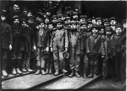 Group of breaker boys, from a 1910 photograph by Lewis Hine Breaker Boys 1.png