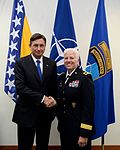 Brig. Gen. Giselle Wilz, NATO Headquarters Sarajevo commander, welcomes H.E. Borut Pahor, the President of the Republic of Slovenia, at Camp Butmir, Bosnia and Herzegovinia, May 28, 2016 (2).jpg