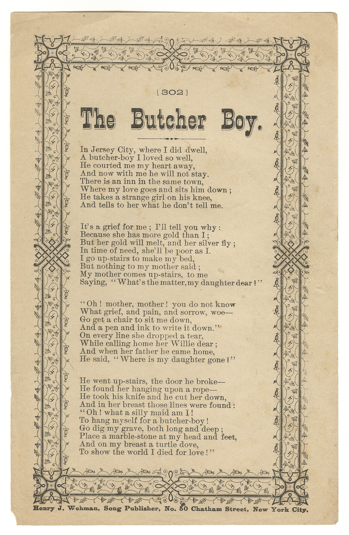 The Butcher's Boy (folk song) - Wikipedia
