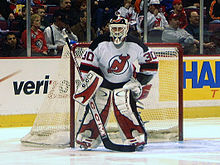 Brodeur during pre-game warmups in March 2003 87171456f