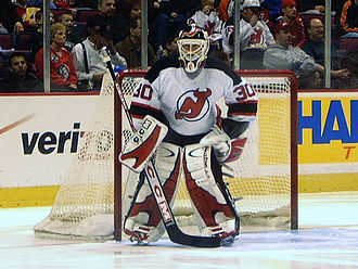 Martin Brodeur - Brodeur during pre-game warmups in March 2003