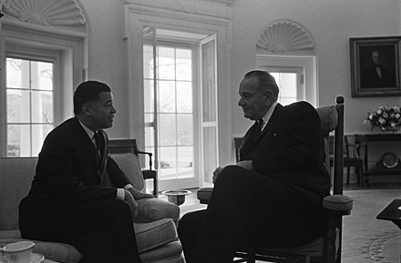 Senator Edward Brooke meeting with President Lyndon Johnson in the Oval Office shortly after taking office in the Senate in 1967. Brooke and Johnson - Oval Office.jpg