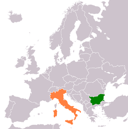 Map indicating locations of Bulgaria and Italy
