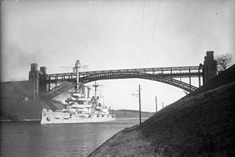 SMS Schleswig-Holstein - Schleswig-Holstein transiting the Kaiser Wilhelm Canal in 1932