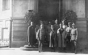 Kingdom of Poland (1917–18) - Governors-General Beseler (first from left) and Kuk (second from left) in 1916.
