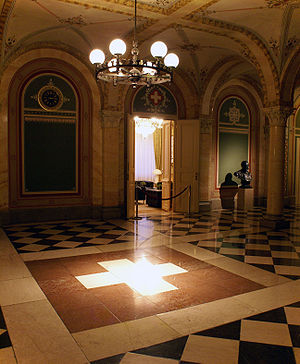 Swiss Federal Council - The interior of the west wing of the Federal Palace in Berne, where the Council meetings are held.
