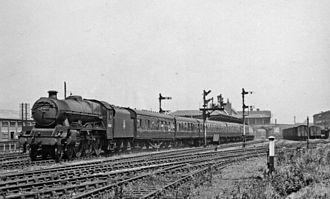 Burton-on-Trent railway station - Up 'Devonian' express leaving Burton-upon-Trent