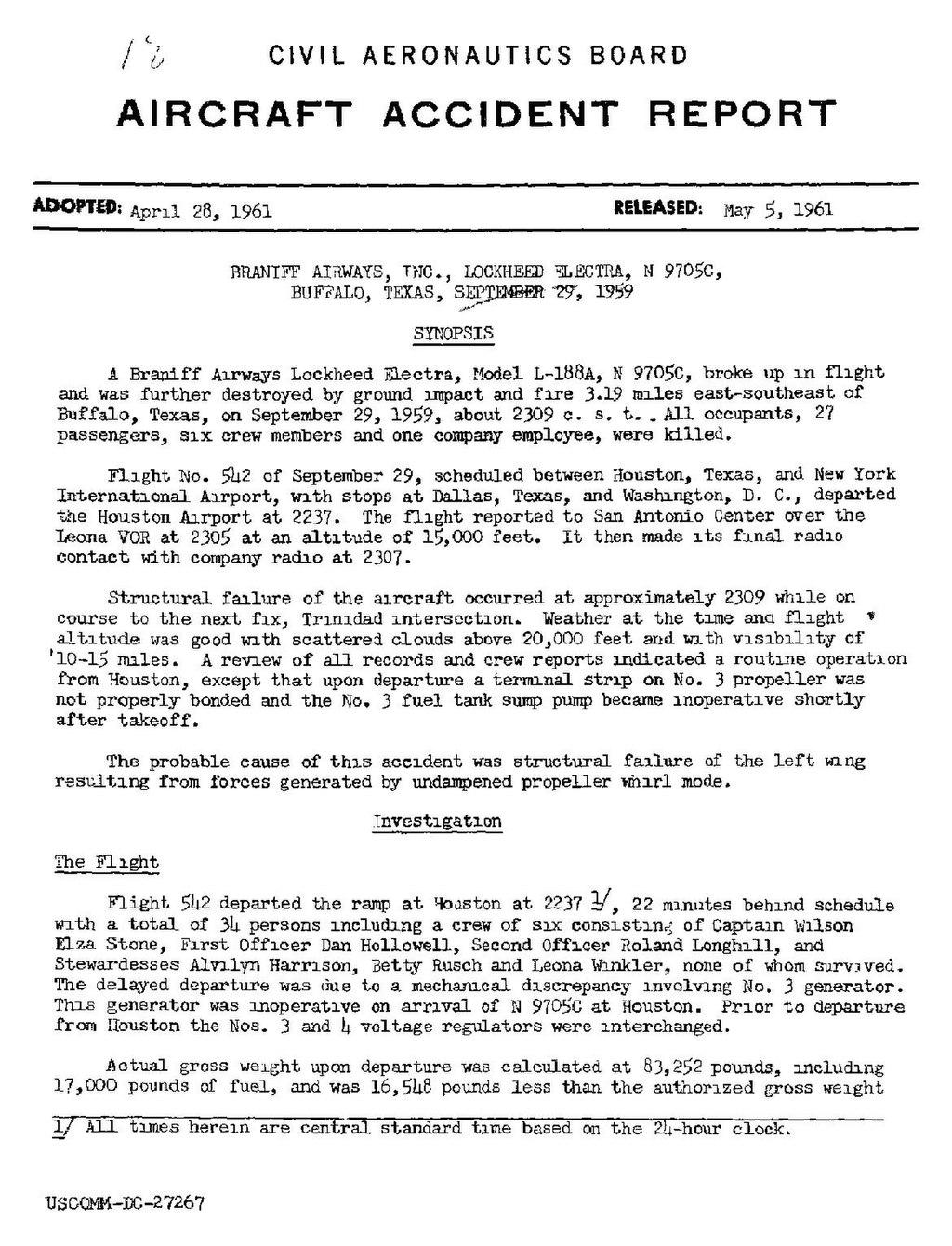 Page:CAB Accident Report, Braniff Airways Flight 542 pdf/1