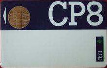 Carte Bull CP8 à micro-processeur monochip ( 1983) (recto) - première smart card commercialisée. Cette carte est fondée sur les brevets de Michel Ugon Ingénieur à Bull-CP8. ( Non sur ceux de Roland Moreno)