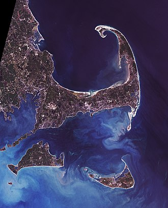 Cape (geography) - Cape Cod and the islands off the Massachusetts coast, from space