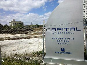 Capital at Brickell - The same sign three years later in March 2011